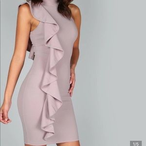 One sided exaggerated drill dress women formal
